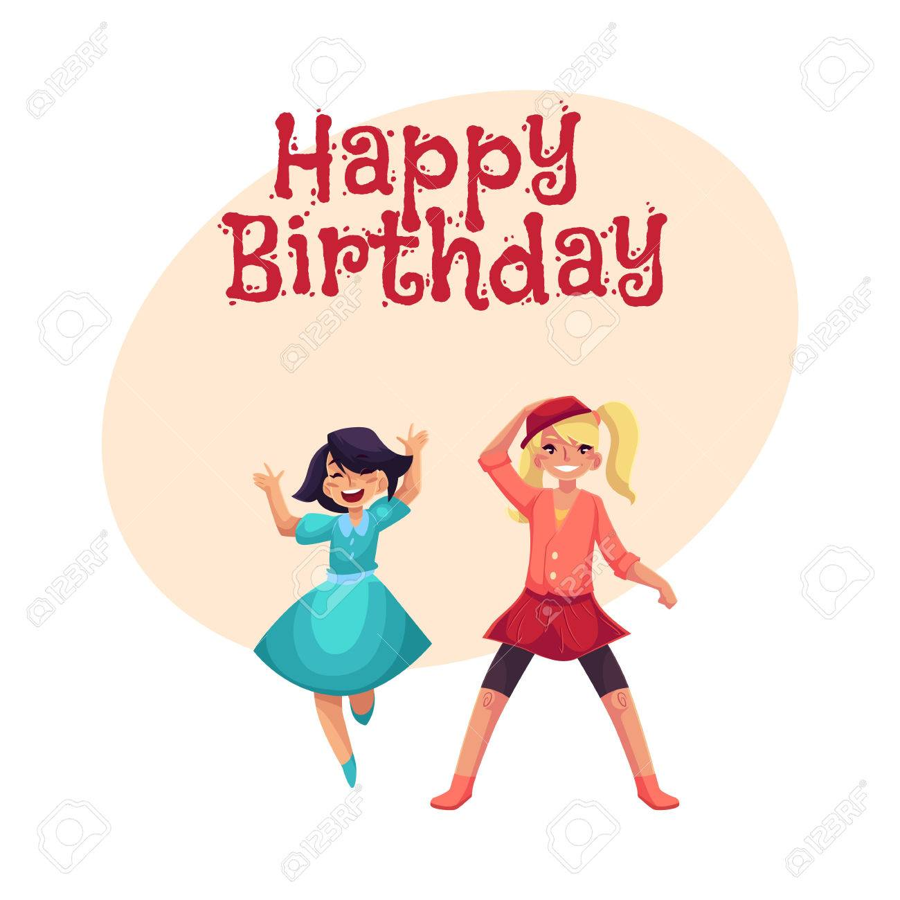 Happy birthday vector greeting card poster banner design with happy birthday vector greeting card poster banner design with two girls dancing at party bookmarktalkfo Choice Image