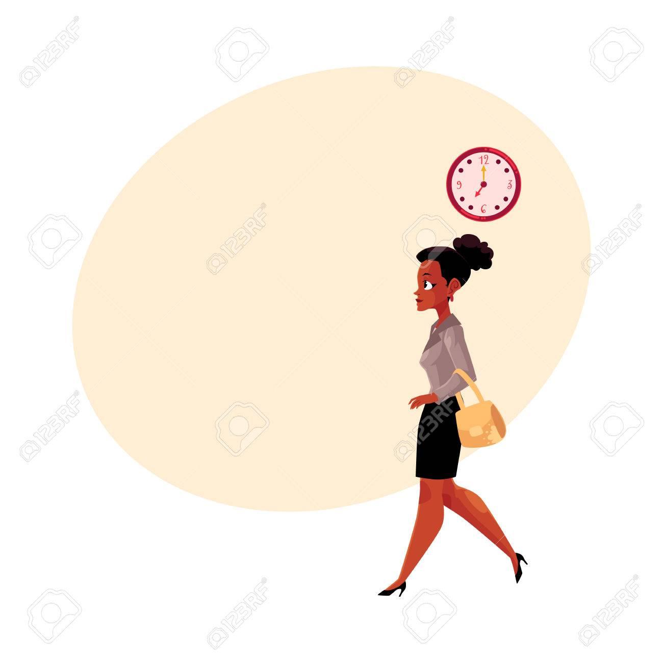 Jeune Femme Noire Afro Americaine Va Travailler Le Matin Horloge