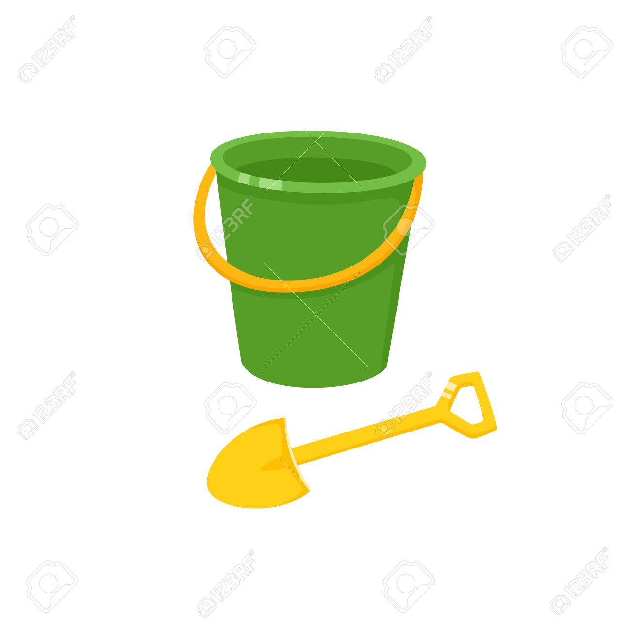 Vector baby bucket and sand shovel toy flat illustration. Child spade and  pail, plastic