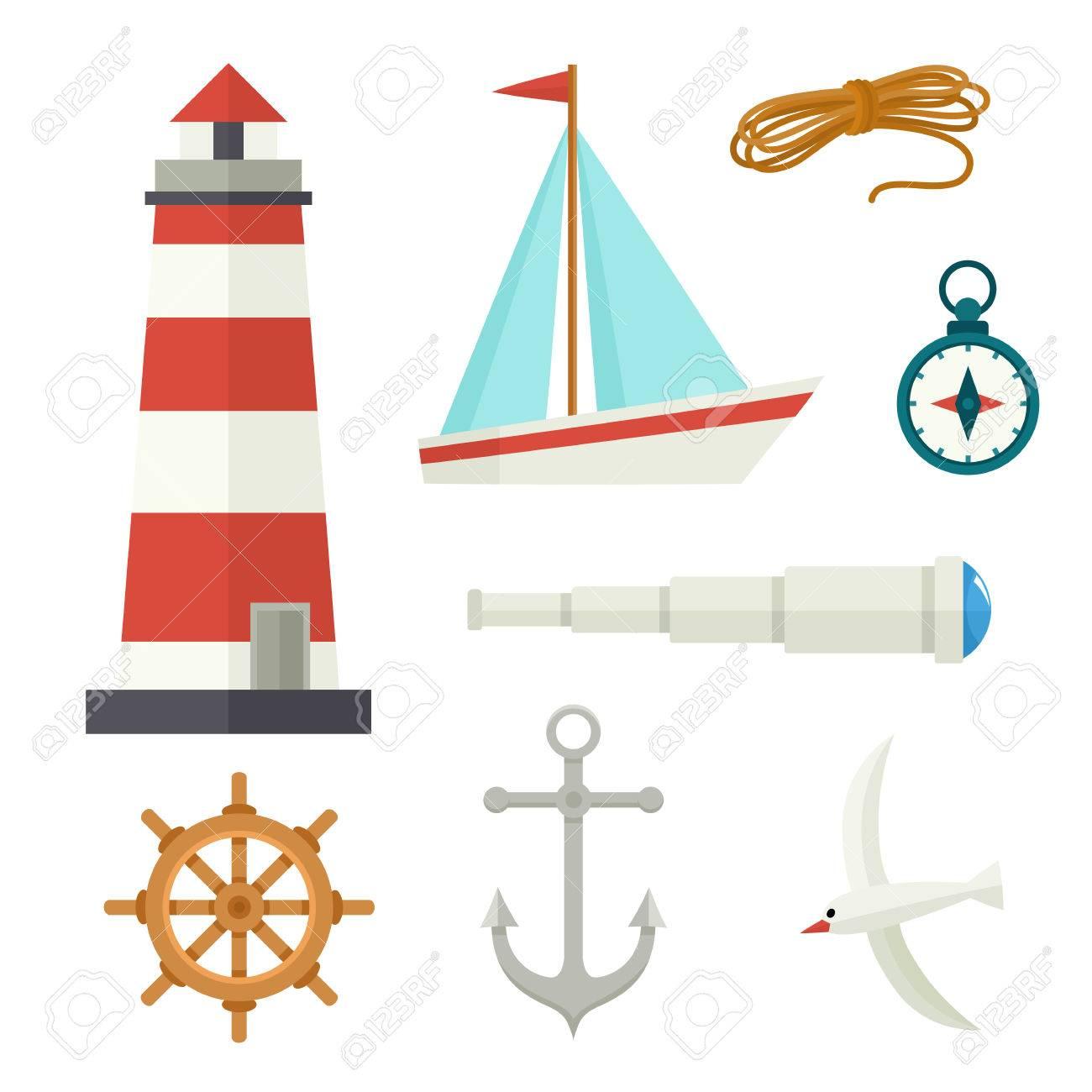 Ancre De Bateau Dessin ensemble d'éléments nautiques de dessin animé plat phare, ancre