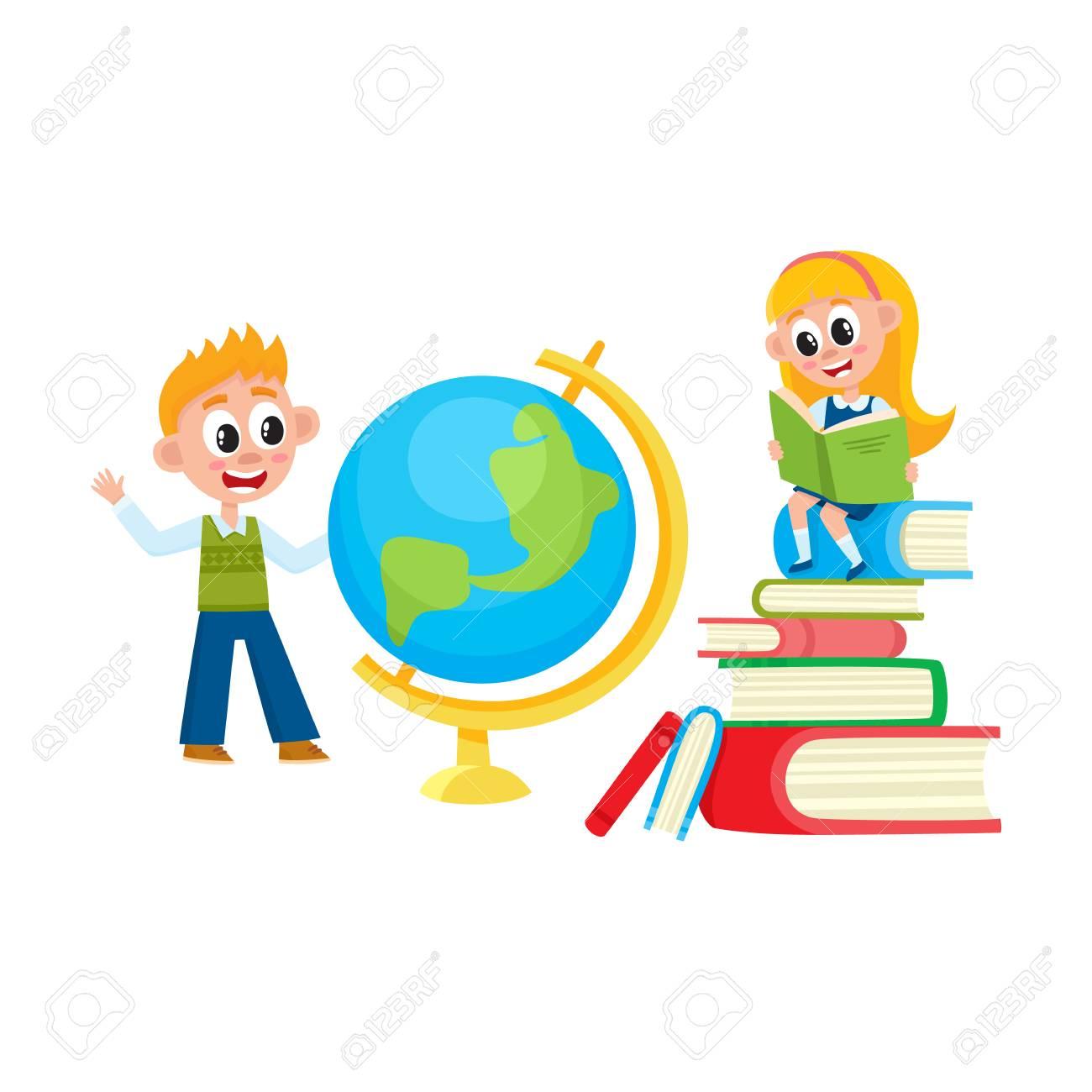Aprendizaje De Niños Niña Leyendo Niño Estudiando Globo Regreso A