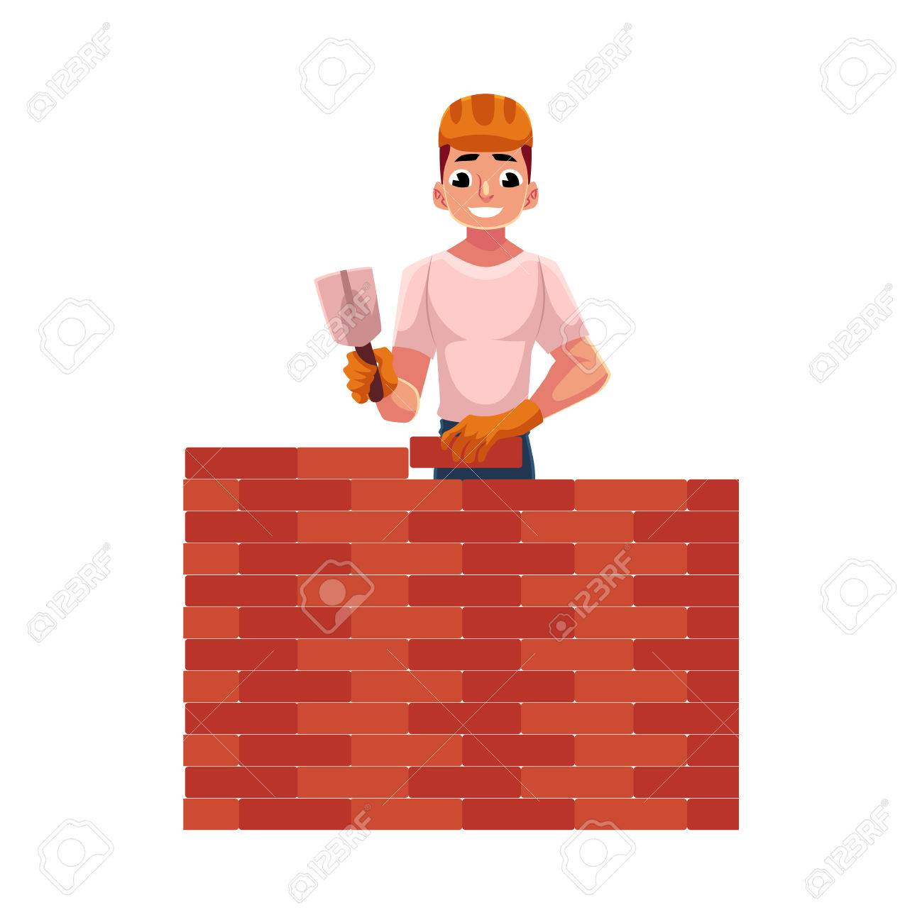 Construction Worker Builder In Hardhat Building Brick Wall Cartoon Vector Illustration Isolated On White