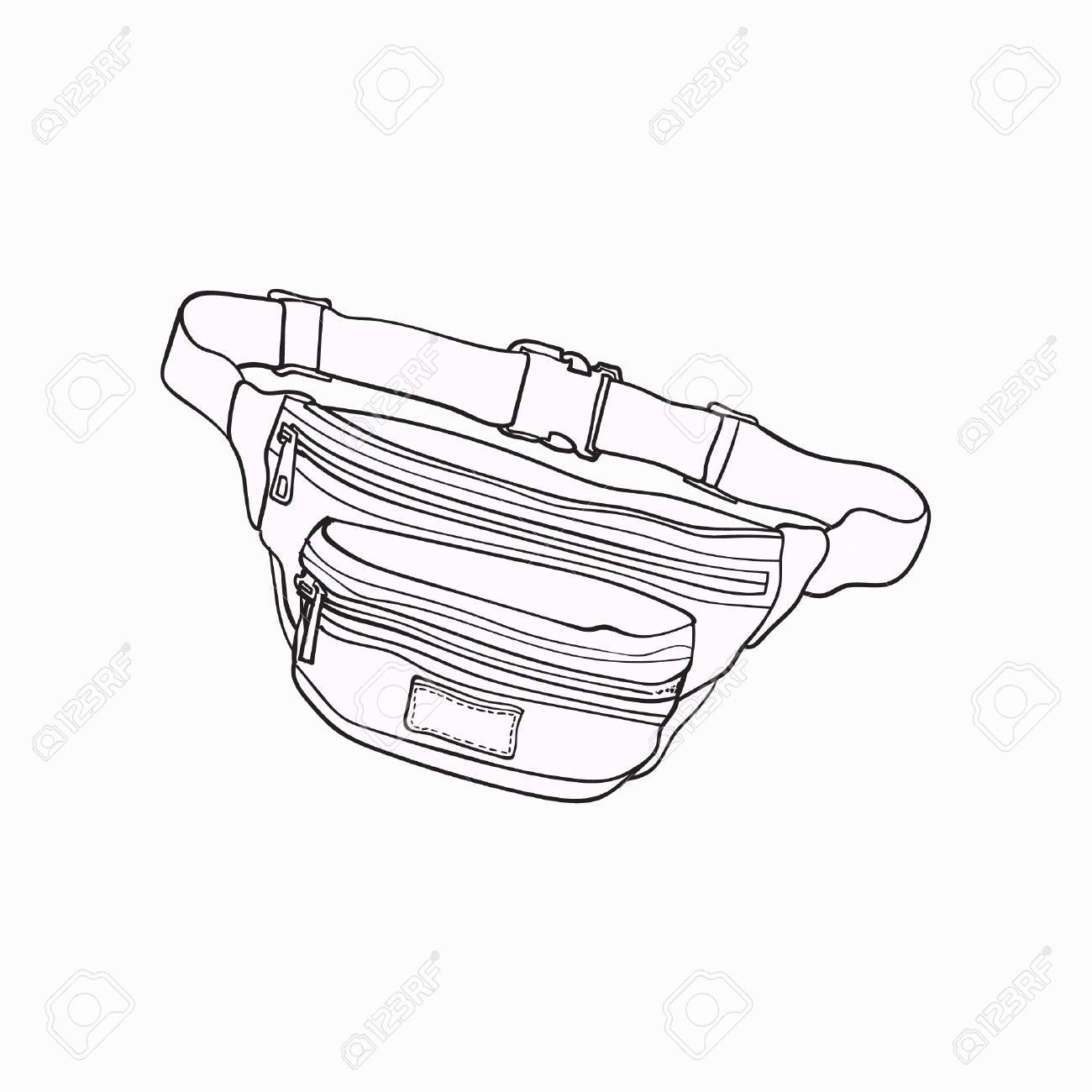 Old fashioned, retro style colorful waist bag, fashion accessory from 90s, sketch vector illustration isolated on white background. Hand drawn waist bag, pack, popular personal item from nineties - 82488879