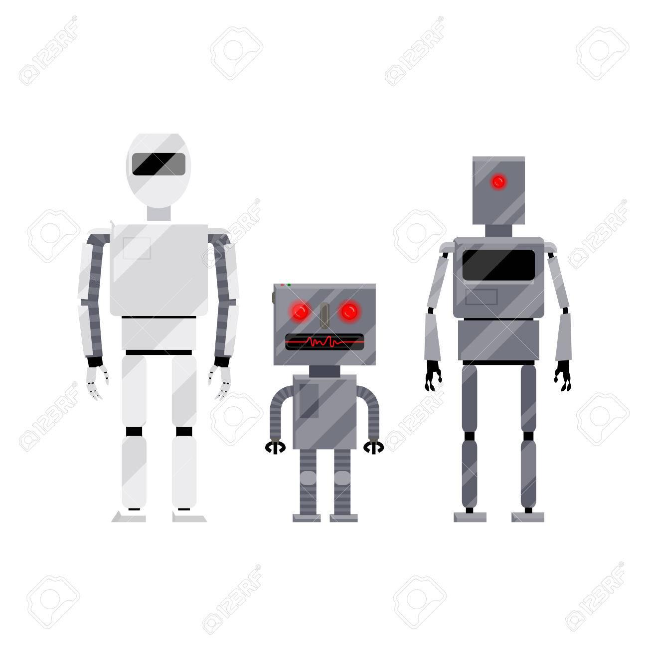 Vettoriale tre personaggi di robot stile moderno e retrò
