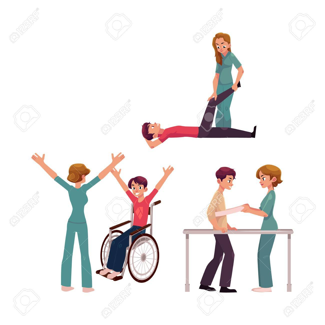 Medical rehabilitation, physical therapy activities, physiotherapist working with patients, cartoon vector illustration on white background. Medical rehabilitation, physical therapy, nurse, patients - 82727742