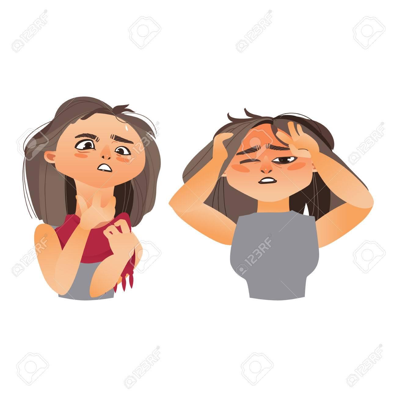 woman having flu symptoms headache and sore throat cartoon