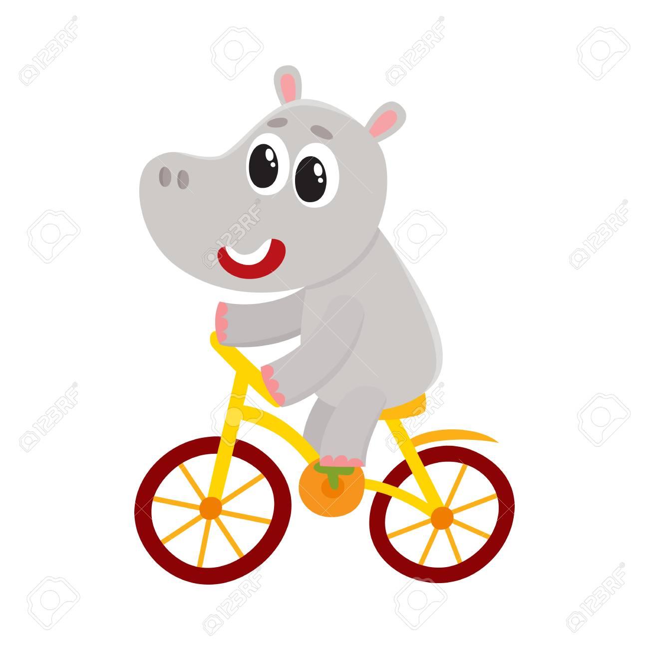 Mignon Petit Personnage Hippopotame Velo Velo Illustration De Vecteur De Dessin Anime Isole Sur Fond Blanc Petit Bebe Hippopotame Hippopotame Personnage Animal Equitation Velo Velo Velo Heureusement Clip Art Libres De Droits