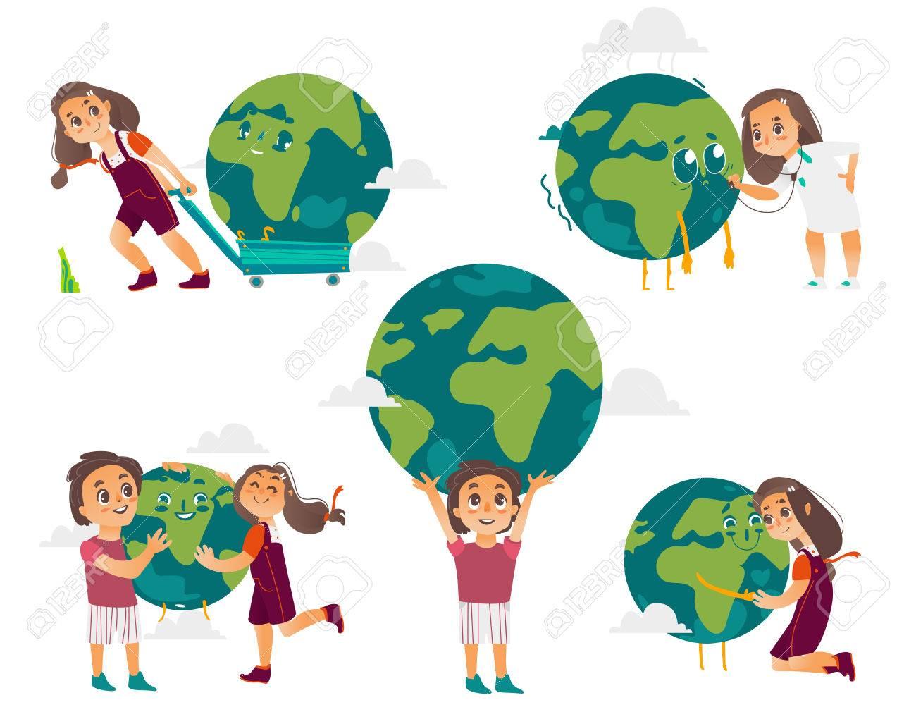 Enfants Garçons Et Filles étreindre Tenant Jouant Avec Le Globe Planète Terre Illustration De Vecteur De Dessin Animé Isolé Sur Fond Blanc Les