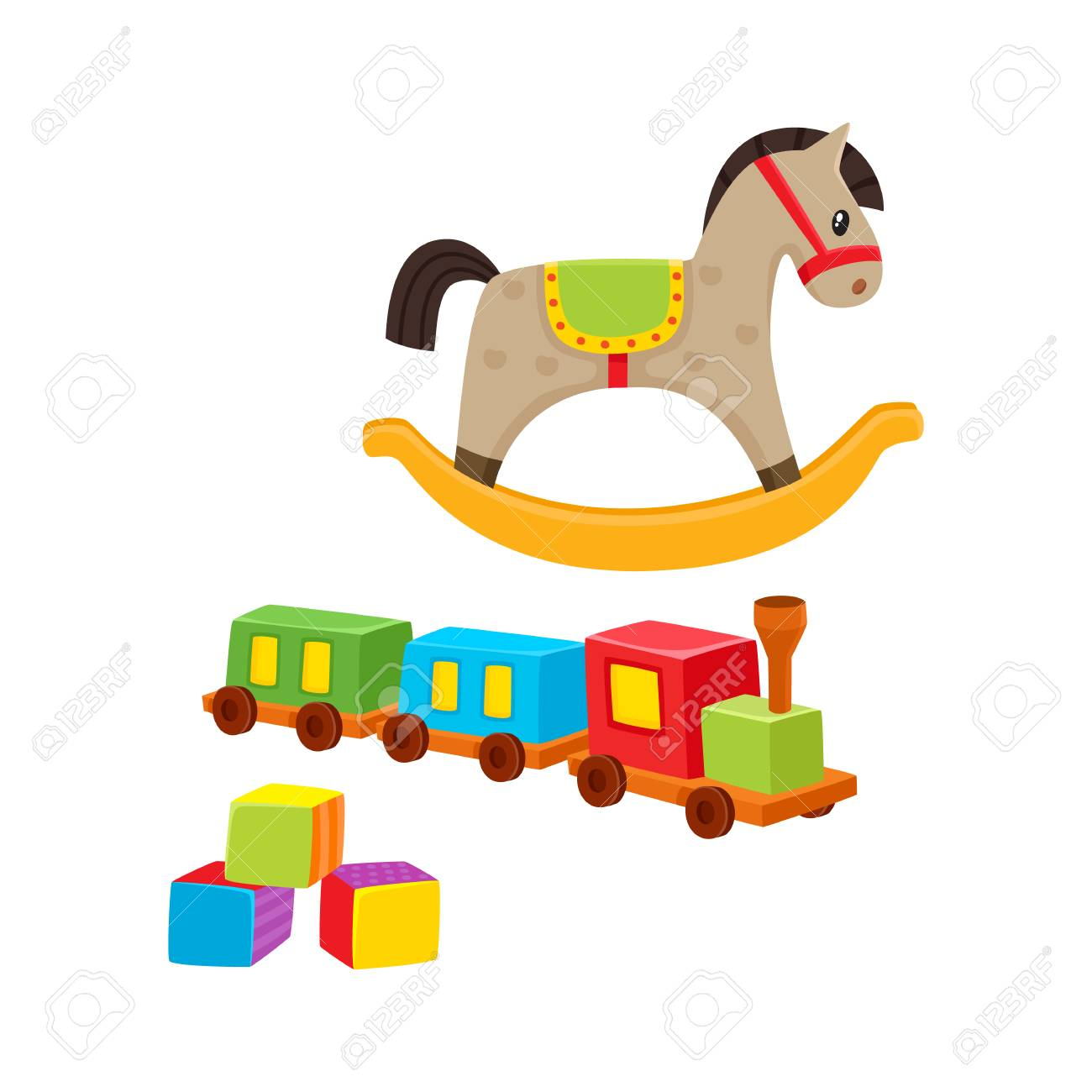Baby Wooden Toys Train Rocking Horse Building Blocks Cartoon