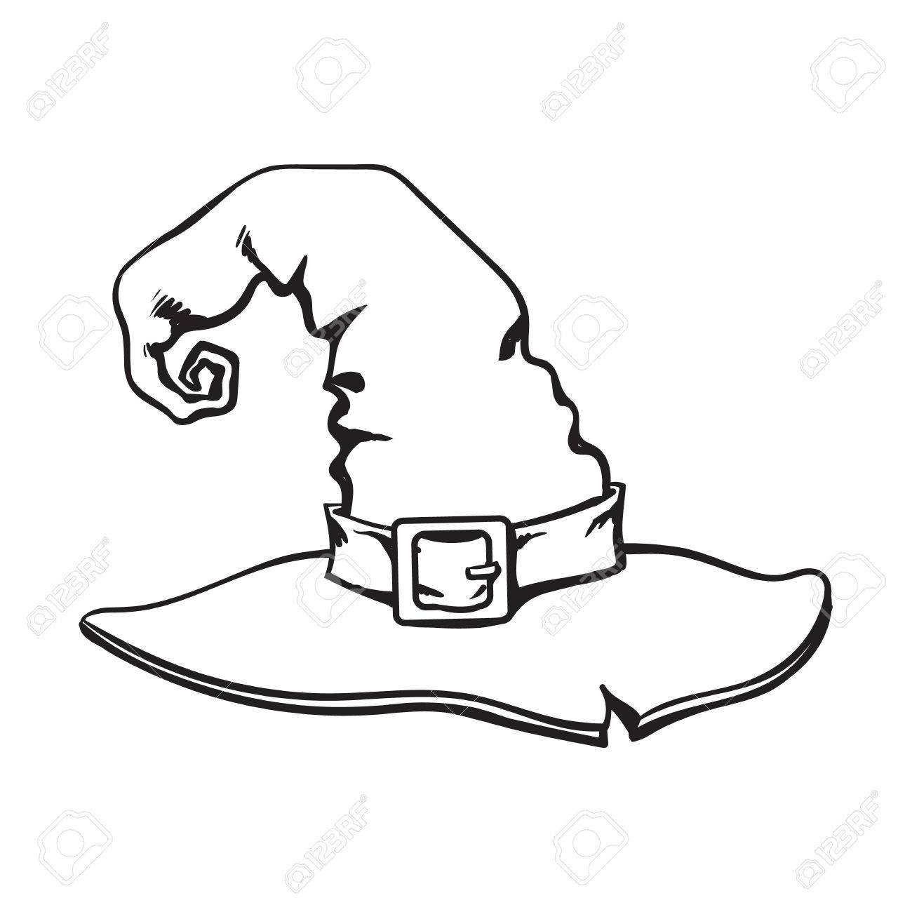 Halloween Vector Black And White.Black And White Wizard Pointed Hat Halloween Decoration Element