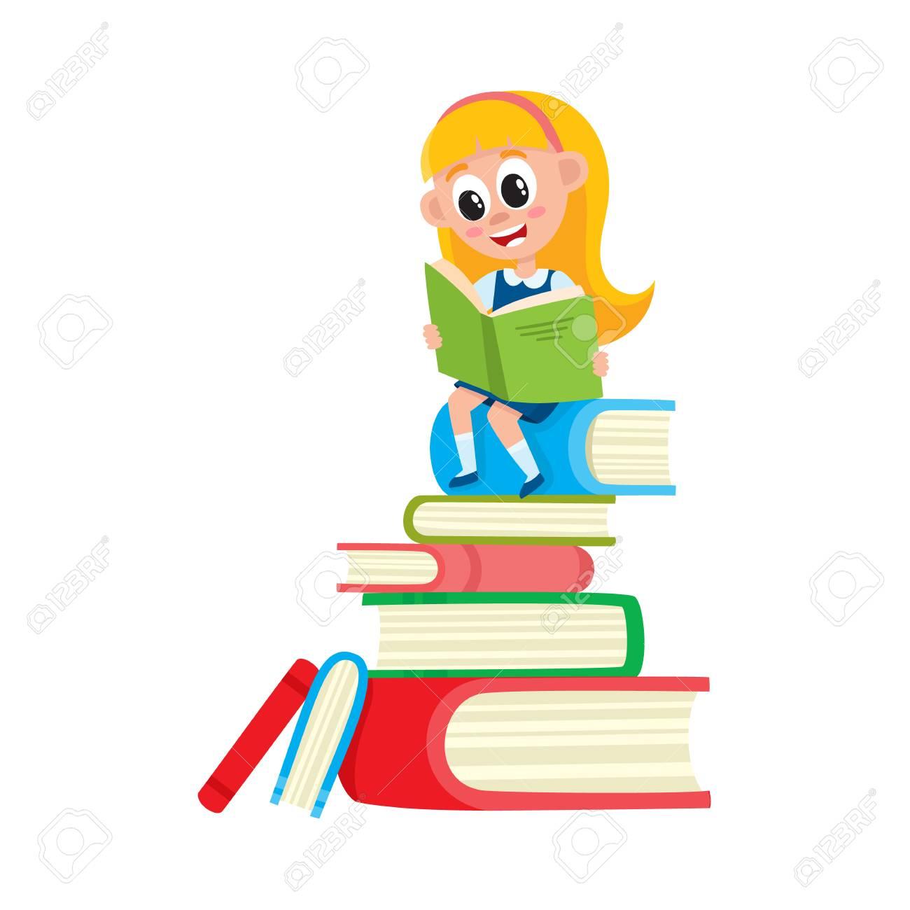 Petite Fille Lisant Assis Sur Une Pile Enorme Pile De Livres Illustration De Vecteur De Dessin Anime Isole Sur Fond Blanc Fille Lisant Sur Une