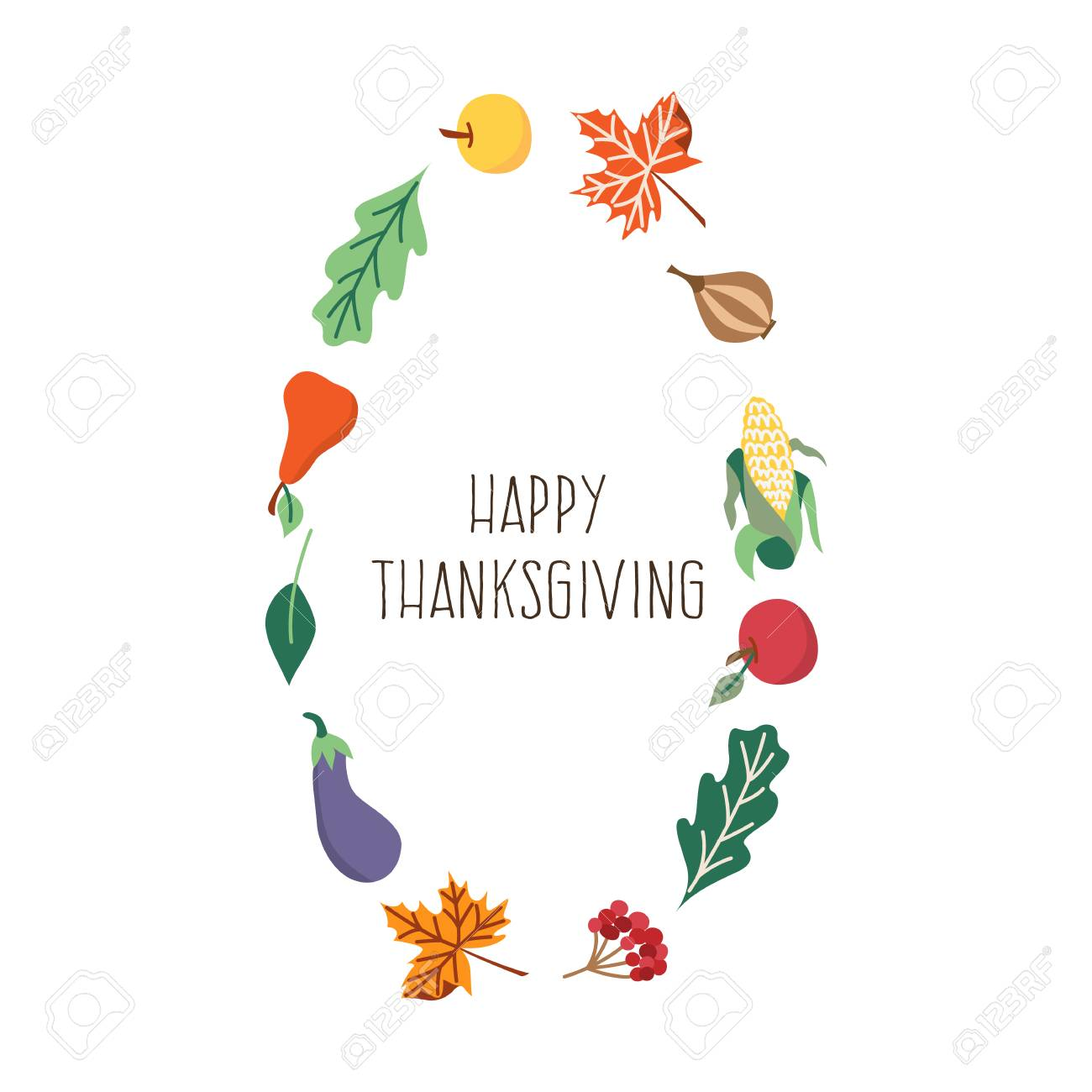 Vector Happy Thanksgiving Card In Autumn Leaves And Vegetables - Thanksgiving card template