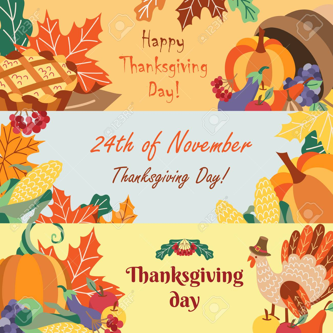 Set Of Happy Thanksgiving Greeting Banners With Cartoon Symbols