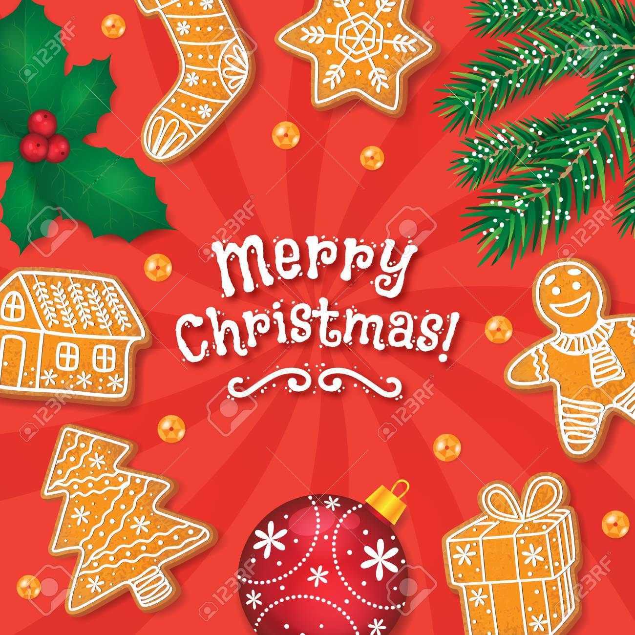 Merry Christmas Greeting Card Postcard Banner Design With Glazed