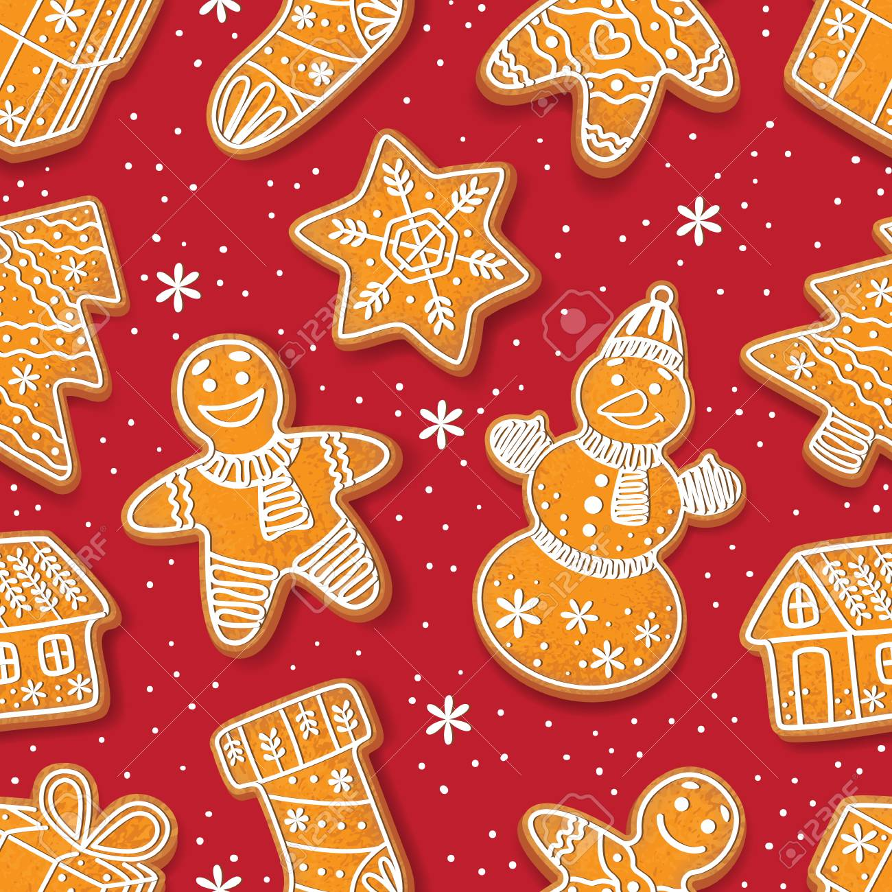 Christmas Gingerbread House Cartoon.Seamless Pattern Formed By Glazed Homemade Christmas Gingerbread