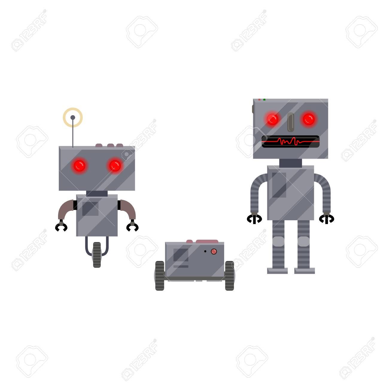 Vettoriale tre personaggi robot stile moderno e retrò fumetto