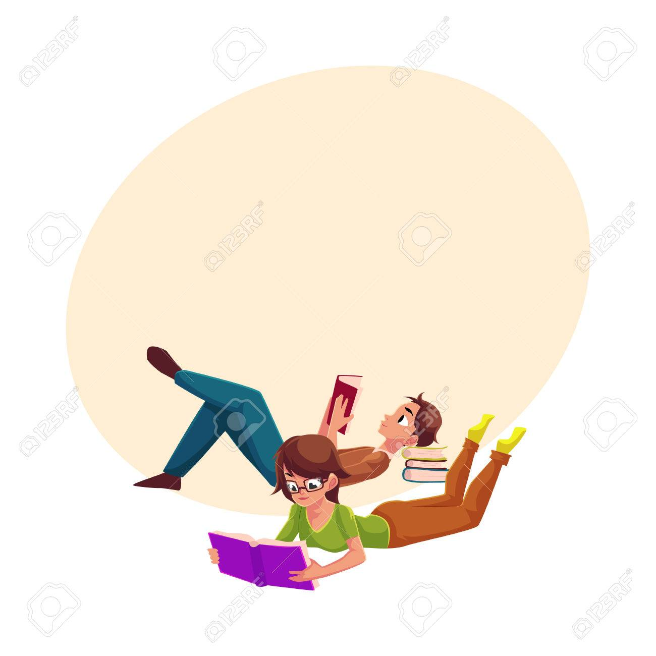 Boy man reading book and woman in glasses reading book while boy man reading book and woman in glasses reading book while lying on her stomach altavistaventures Images