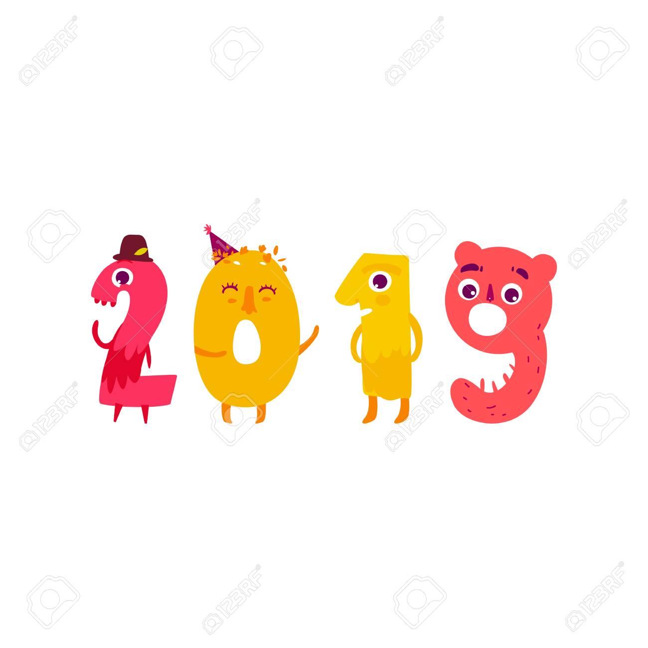 Bien-aimée Vector Cute Animallike Character Number 2019. Illustration De #FG_16