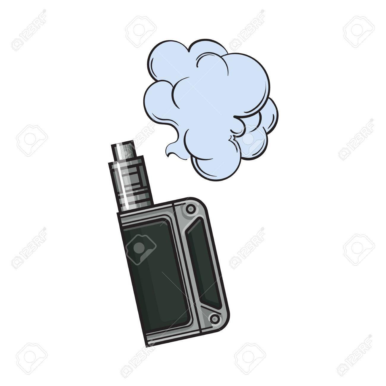 Vape dessiné à la main, appareil de vapotage avec nuage de fumée,  illustration de vecteur de croquis isolé sur fond blanc  Dessin réaliste de  la vape