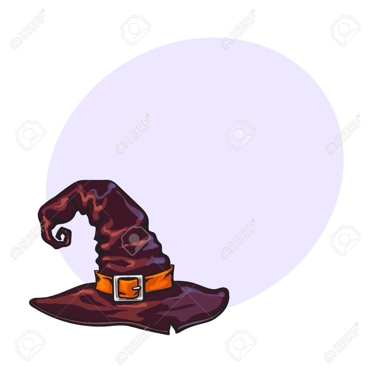Decoration Sorciere Halloween.Vieille Sorcière Chapeau Pointu Assistant élément De Décoration Halloween Illustration Vectorielle De Style Croquis Avec Un Espace Pour Le