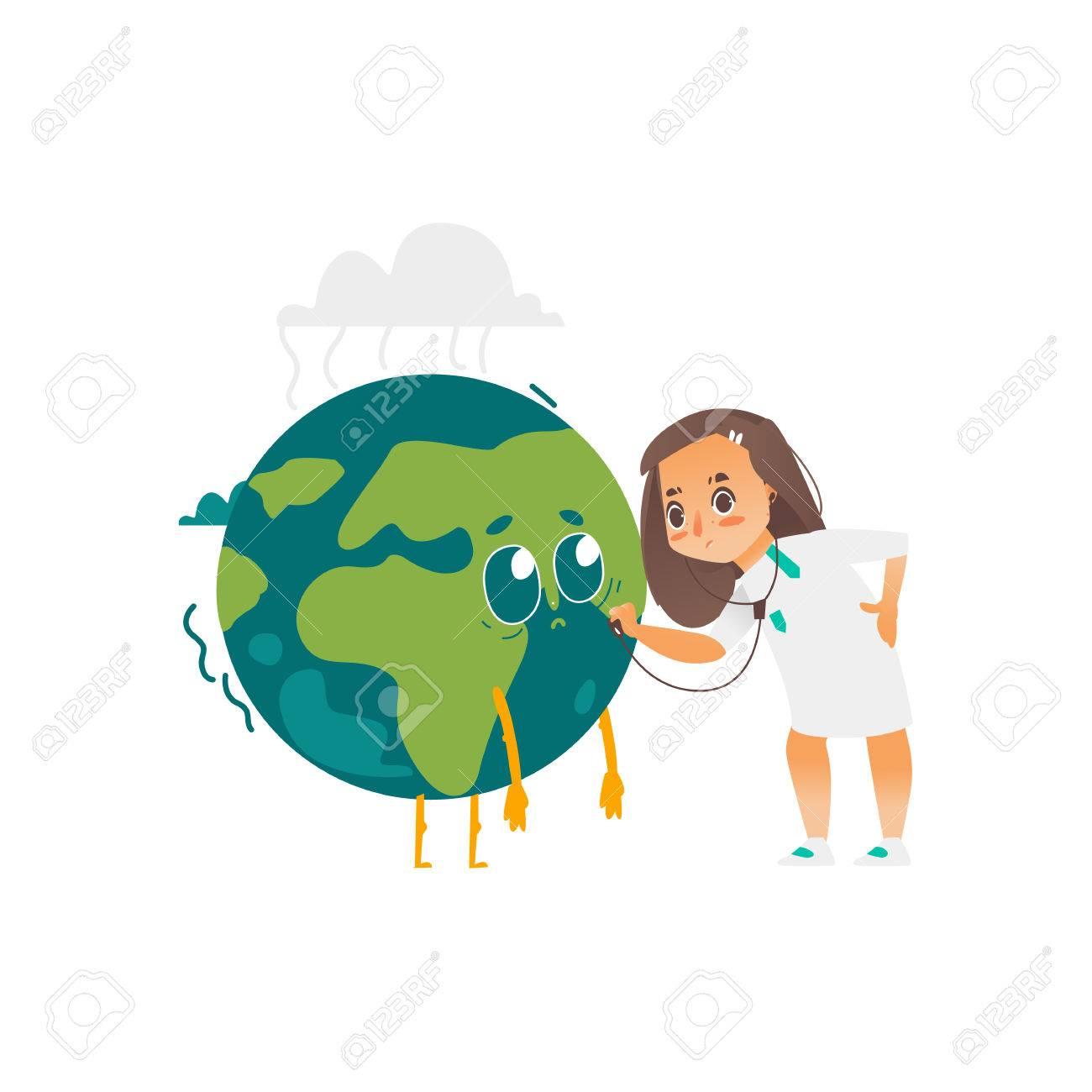 Vector Sauver Le Concept De La Planète Docteur Fille Plat Dessin Animé Tenant Stéthoscope Examinant Les Poumons Du Personnage Triste De La Planète