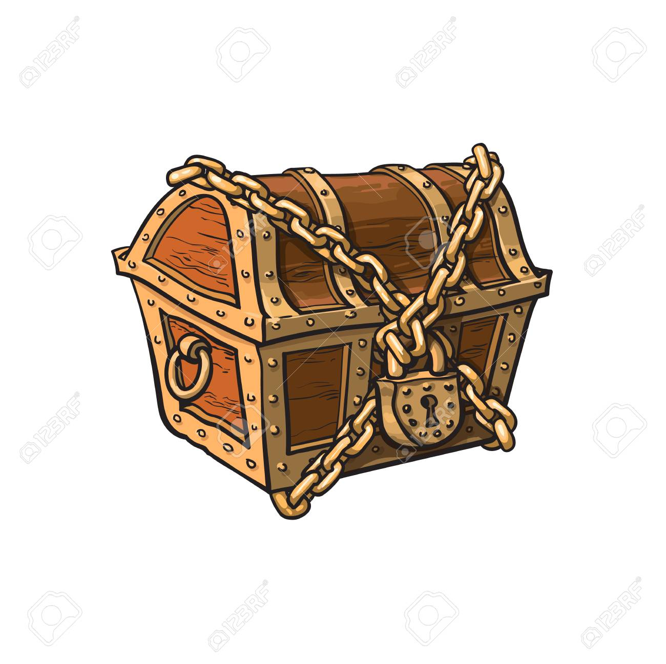 vector closed locked chained wooden treasure chest. Isolated illustration on a white background. Flat cartoon symbol of adventure, pirates, risk profit and wealth. - 83482981