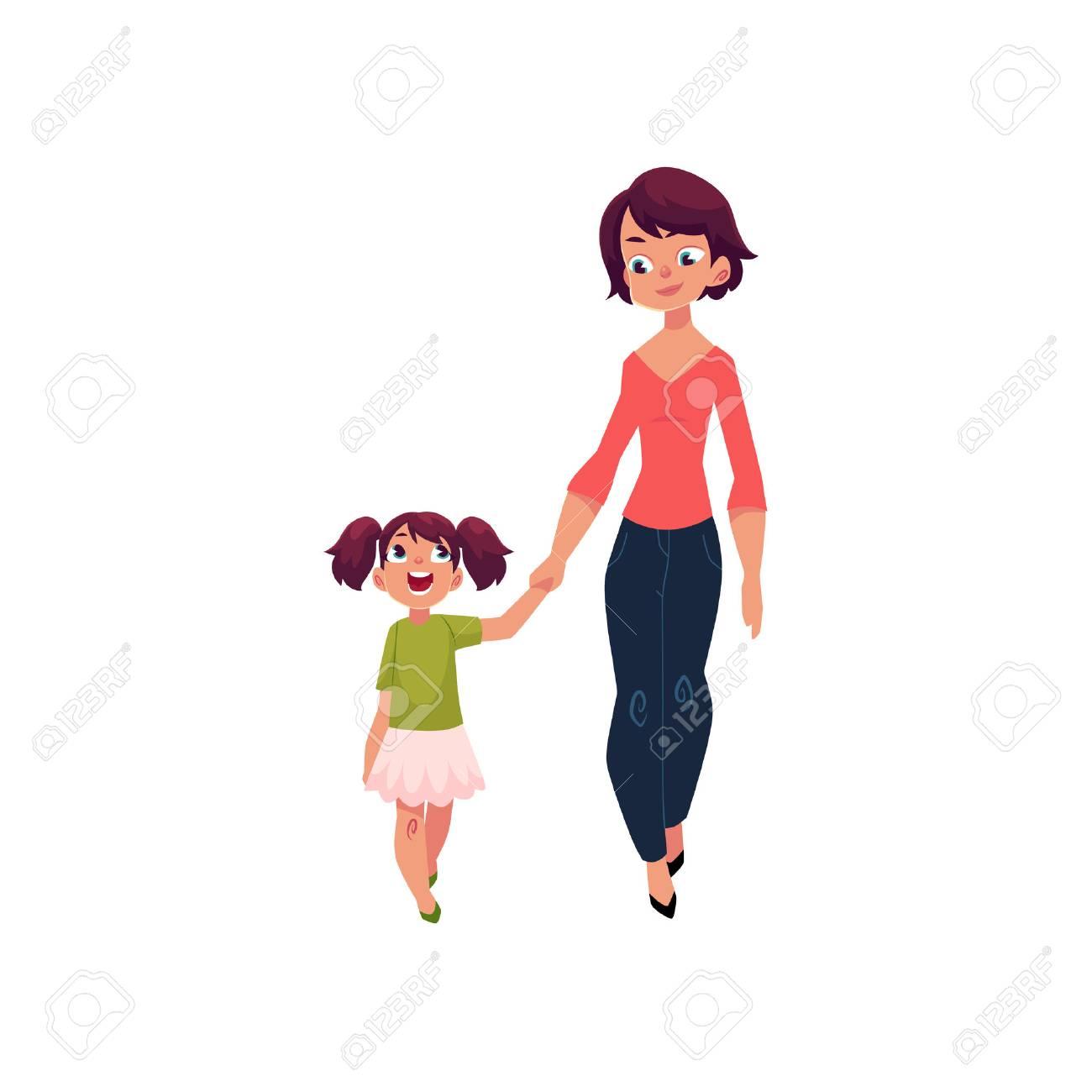 Maman Et Sa Fille Petite Fille Marchant Avec Sa Mère Tenant Par La Main Et Parler Illustration De Vecteur De Dessin Animé Isolée Sur Fond Blanc