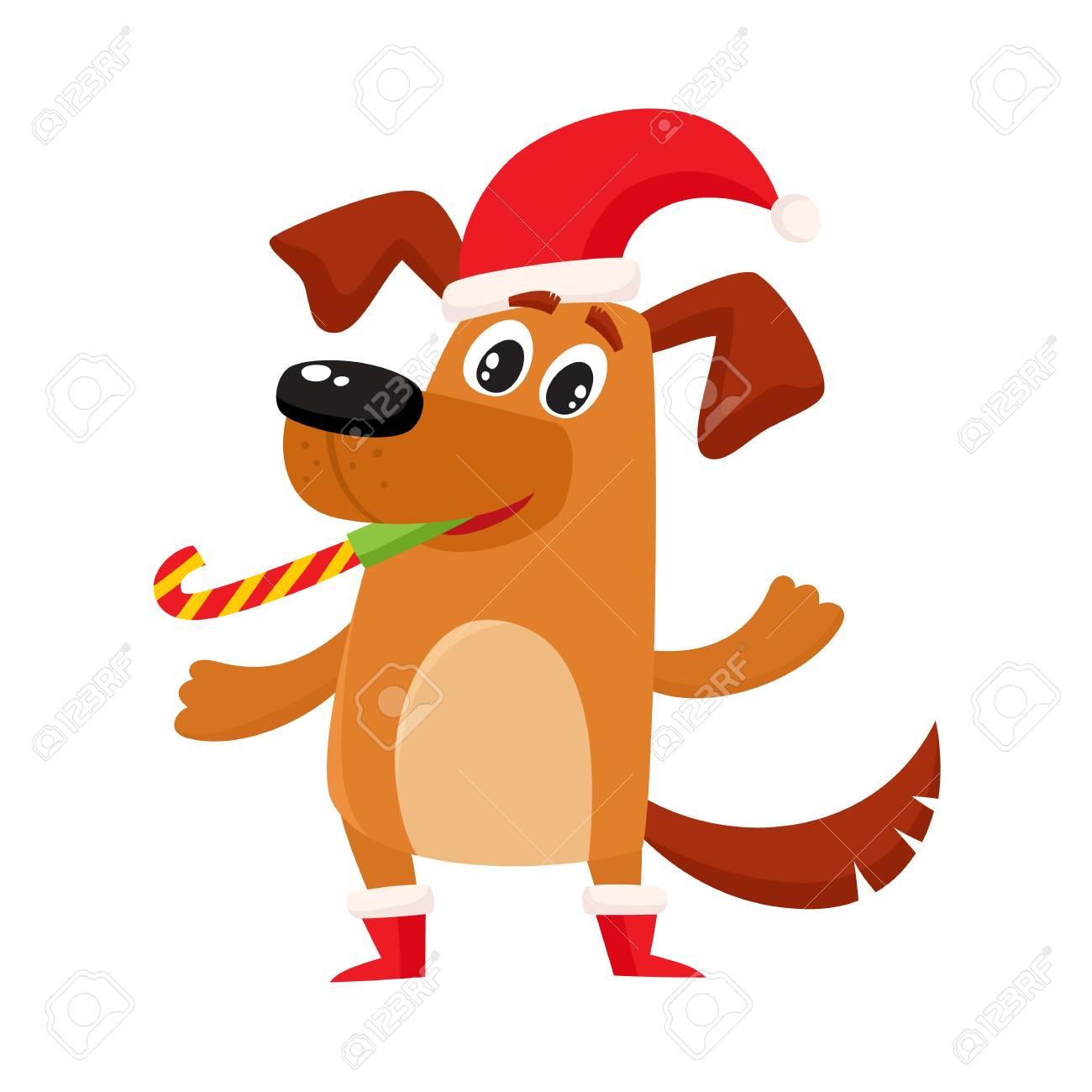 Lindo Perro Divertido Marrón Personaje De Perrito En Navidad