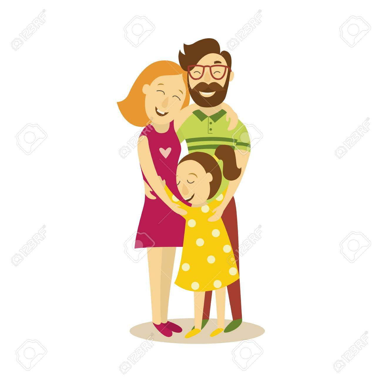 vector full family hugging flat cartoon isolated illustration rh 123rf com hugging cartoon gif hugging cartoon couple pics
