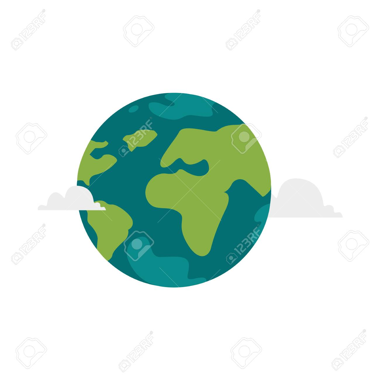 Illustration De Globe Plat Dessin Anime Vector Isole Sur Fond