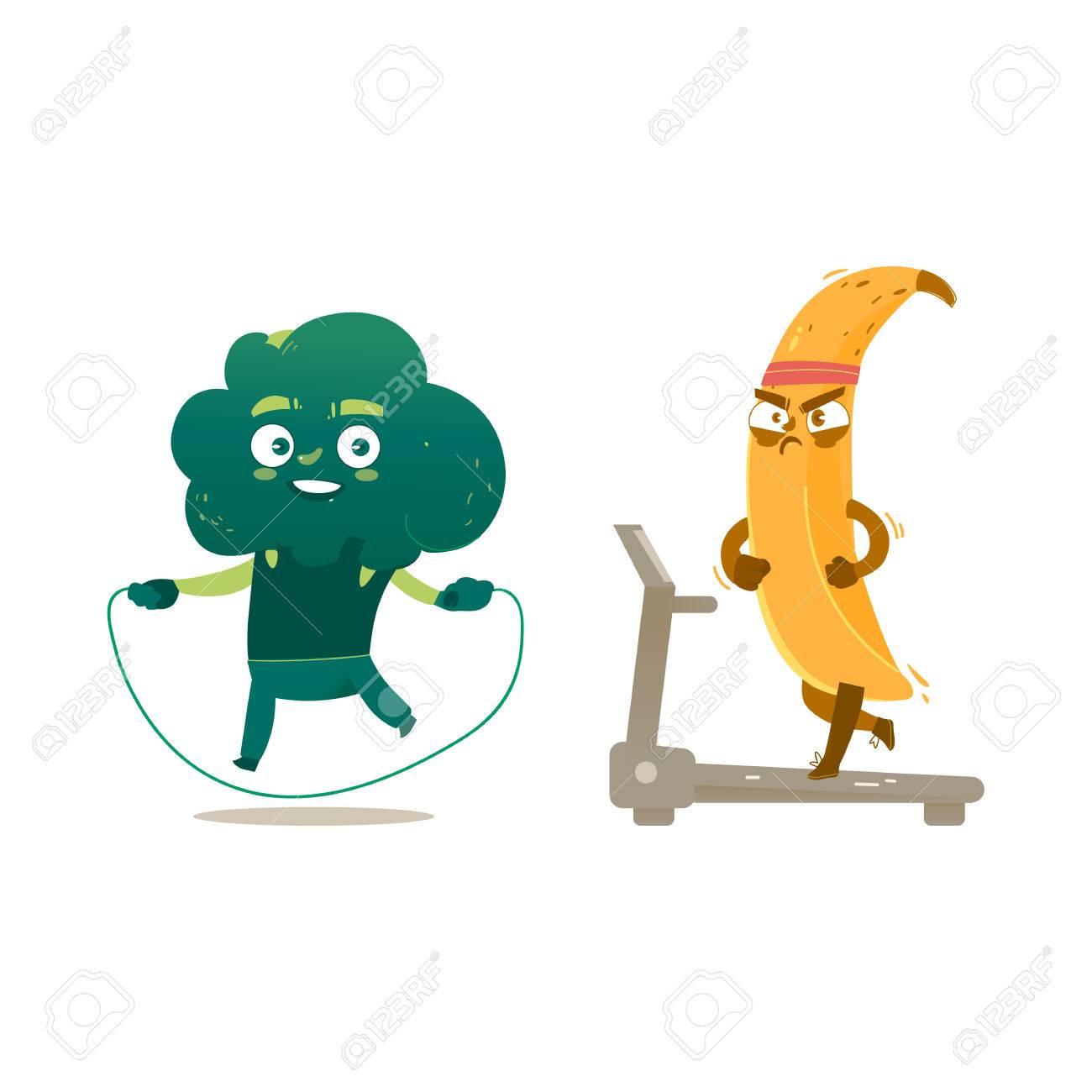 Caracteres De Brocoli Et Banane Drole Faire Des Exercices De Sport Sauter Et Courir Illustration De Vecteur De Dessin Anime Isole Sur Fond Blanc Droles De Brocolis Et De Bananes Formation