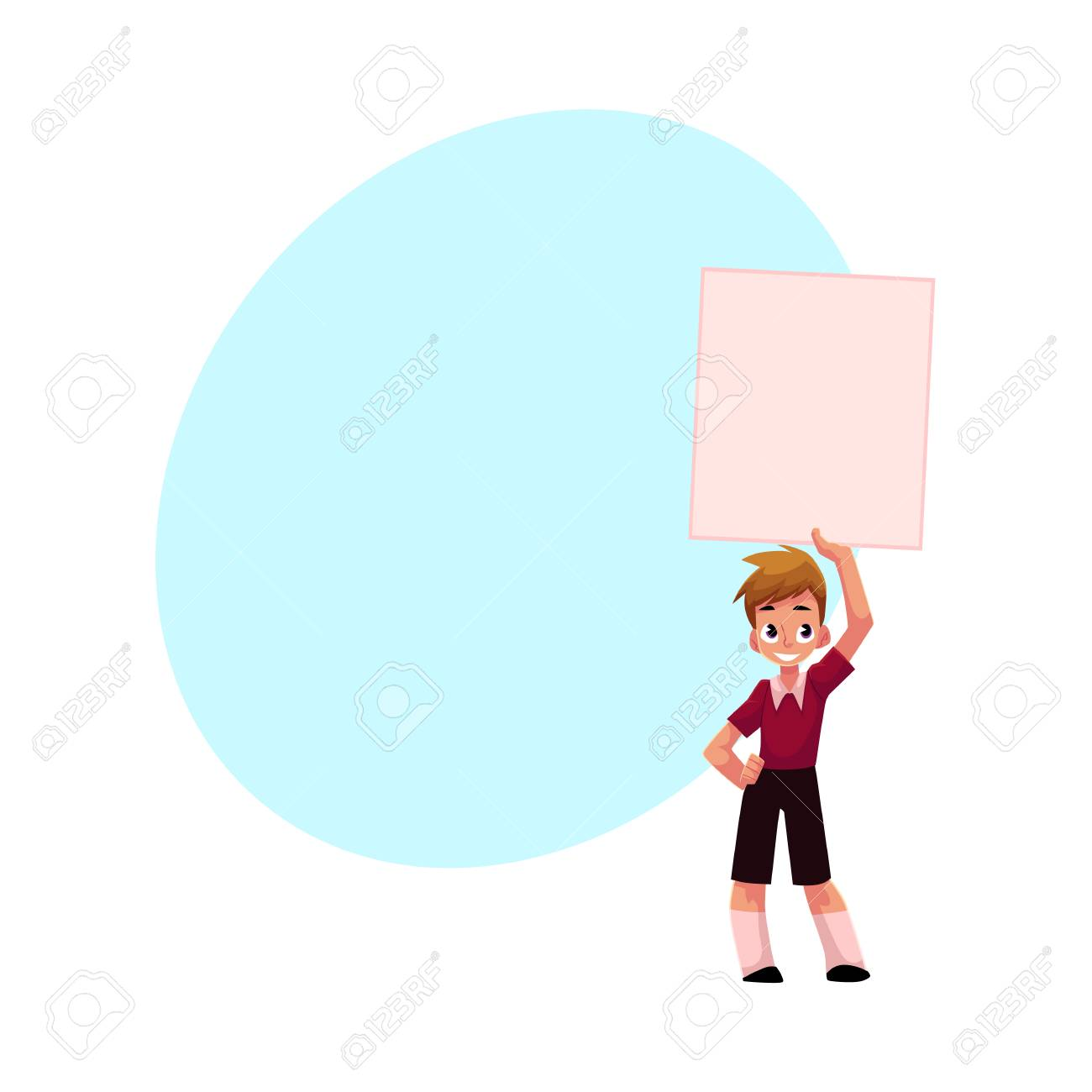 little boy child kid holding blank empty poster board over