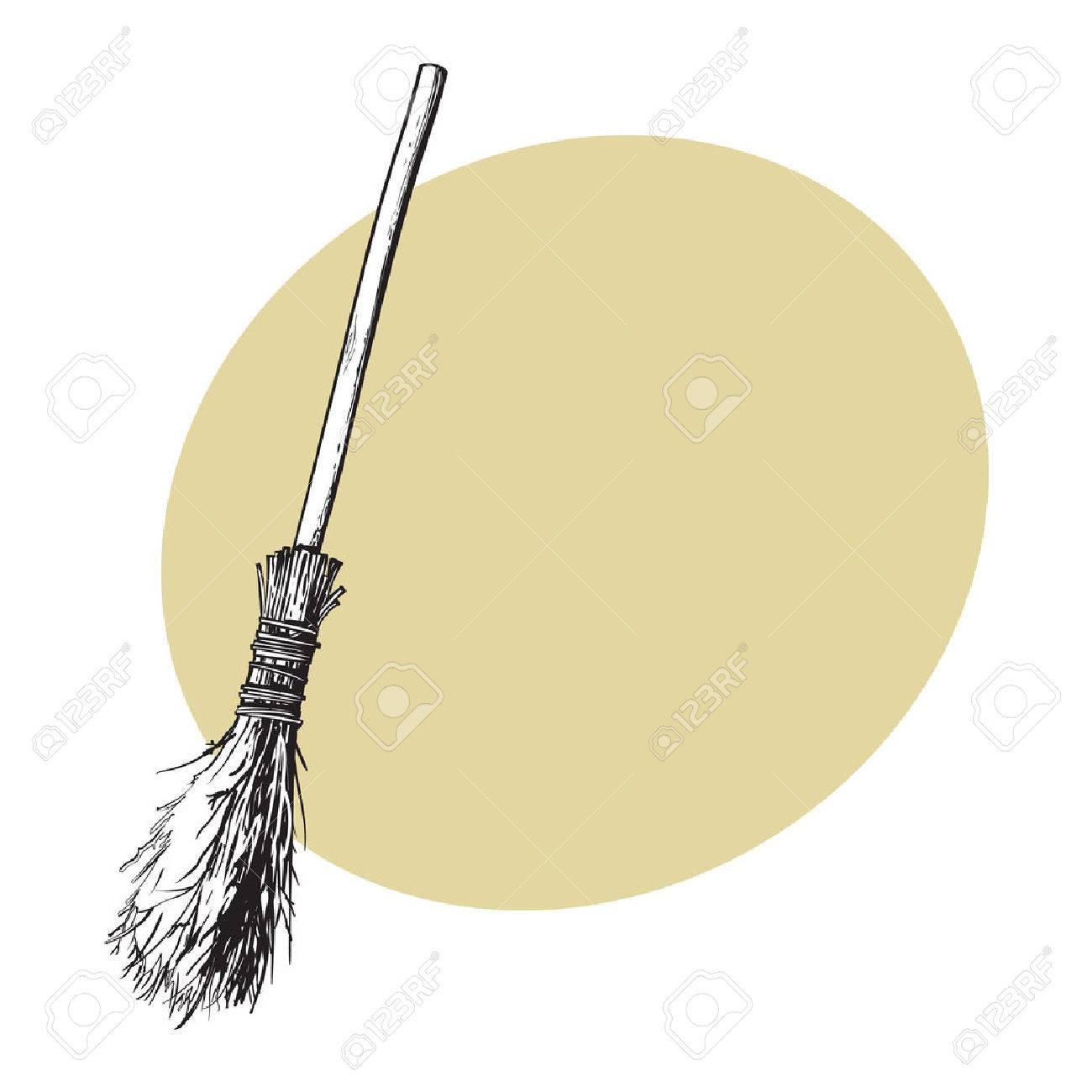 Single old twig broom, broomstick, traditional Halloween symbol,