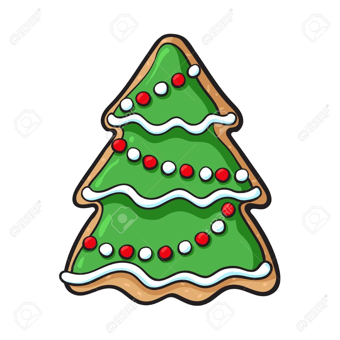 Gingerbread Christmas Tree.Glazed Homemade Christmas Tree Gingerbread Cookie Sketch Style