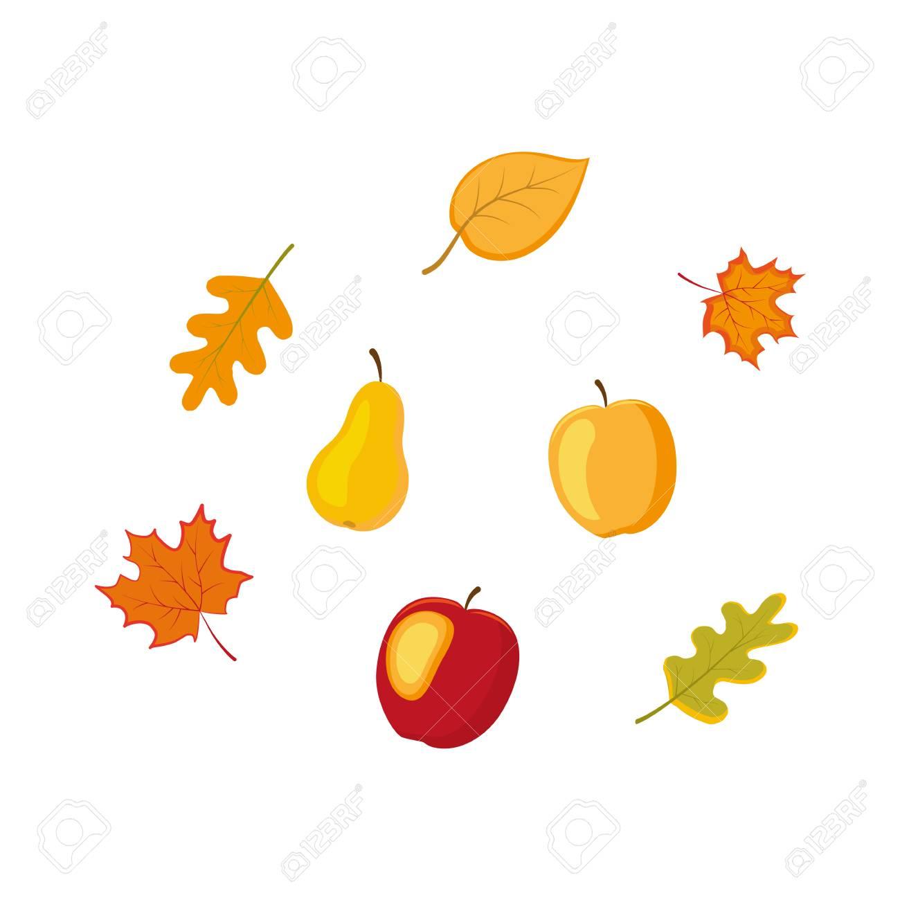 vector fruit vegetables and autumn falling leaves flat set rh 123rf com fall leaves vector border fall leaves vector free