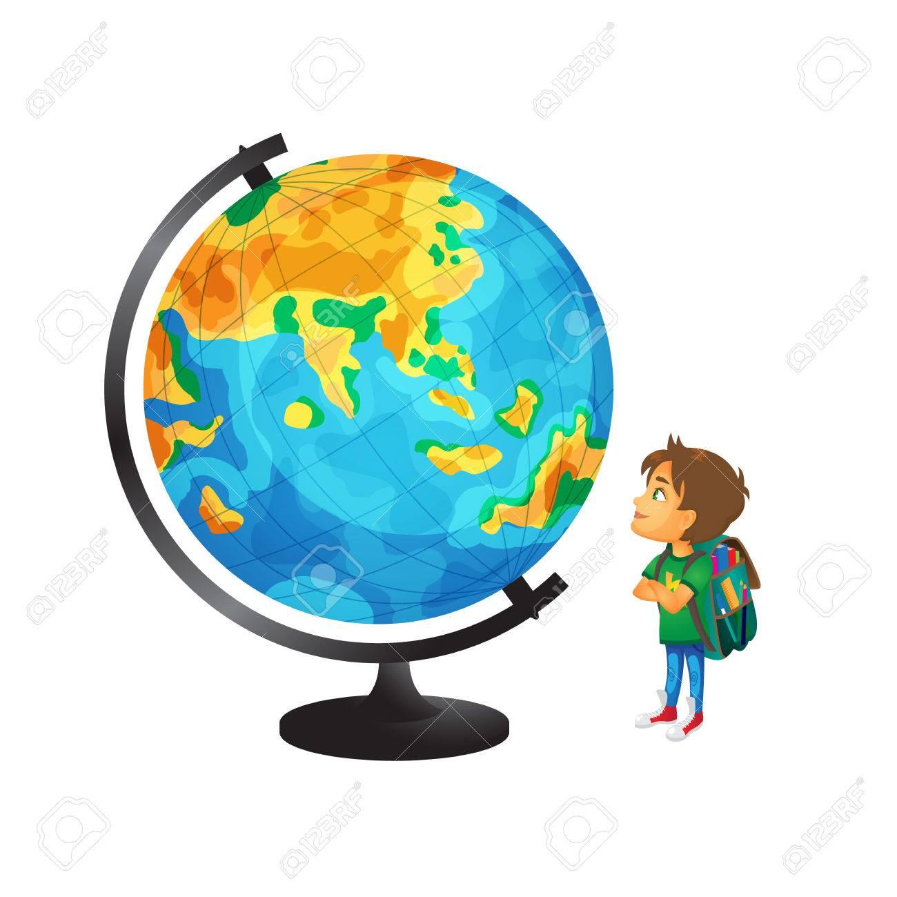 Vecteur De Dessin Animé Petit Garçon, écolier Portant Cartable Regardant  Grand Globe étudie La Géographie. Illustration De Plat Isolé Sur Fond  Blanc. Retour Au Concept De L'école Clip Art Libres De Droits ,