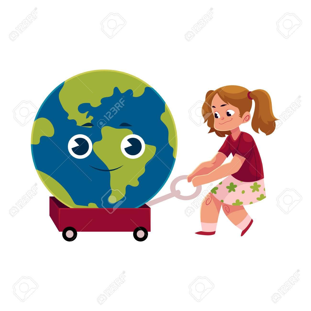 Fille Tirant Litttle Panier Avec Sourire Globe Personnage De Planète Terre Illustration De Vecteur De Dessin Animé Isolé Sur Fond Blanc Jolie Fille
