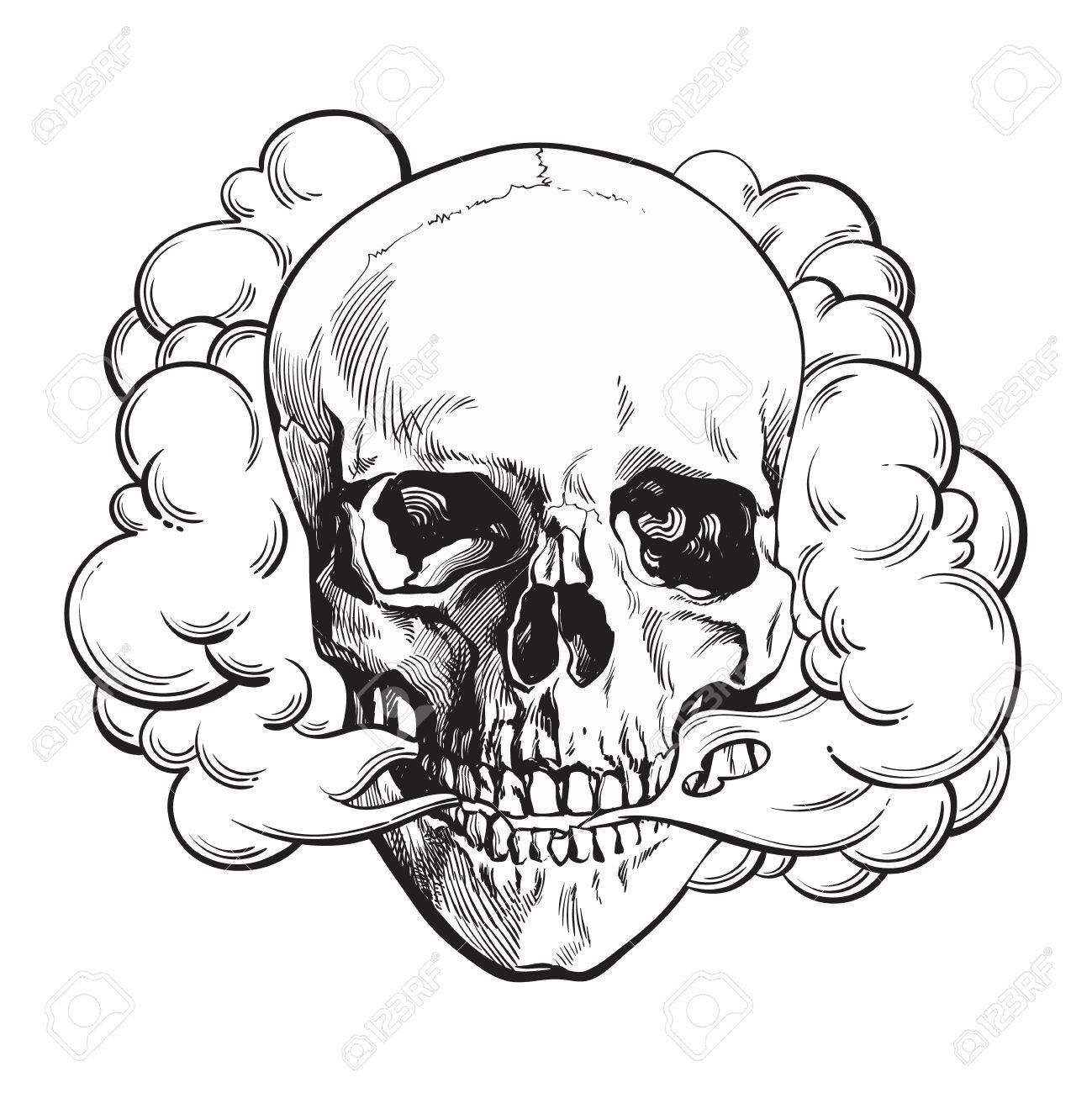 Smoke coming out of fleshless skull death mortal habit concept