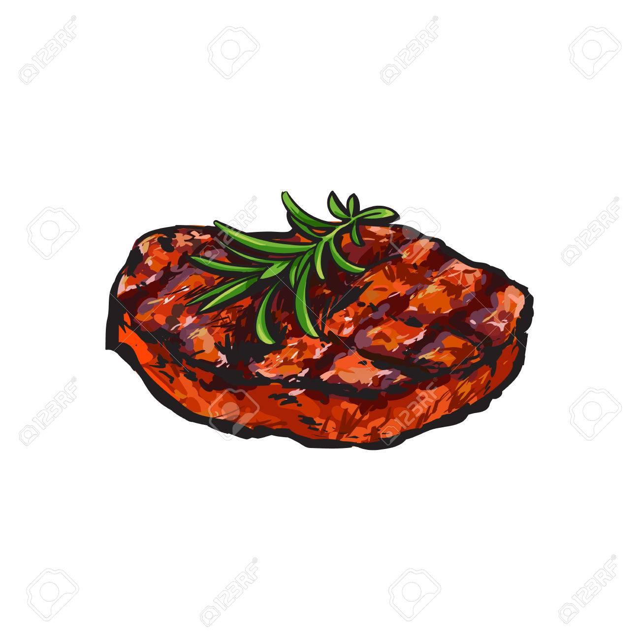Steak De Boeuf Grille Beefsteak Au Romarin Illustration Vectorielle De Style Croquis Sur Fond Blanc Dessin A La Main Realiste D Une Piece Grillee