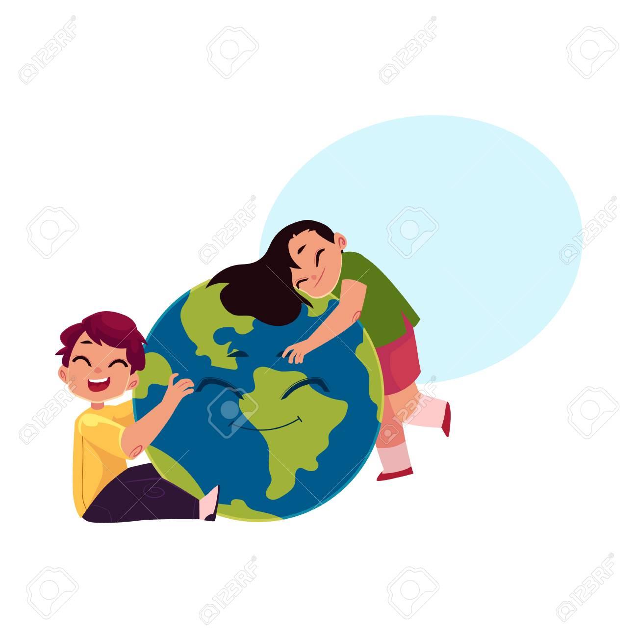Enfants Garçon Et Fille étreignant Souriant Globe Personnage De Planète Terre Illustration De Vecteur De Dessin Animé Isolé Sur Fond Blanc Avec