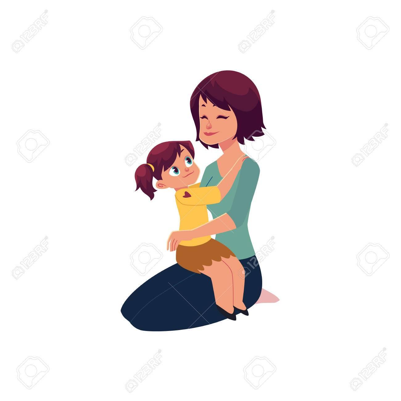 Maman Et Sa Fille étreignant Embrassant Petite Fille Assise Sur Son Genou De Maman Illustration De Vecteur De Dessin Animé Isolé Sur Fond Blanc