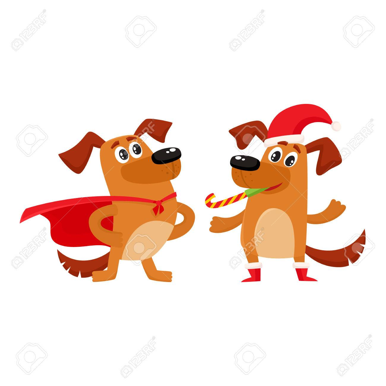 Two Cute Brown Dog Characters One Wearing Christmas Hat And
