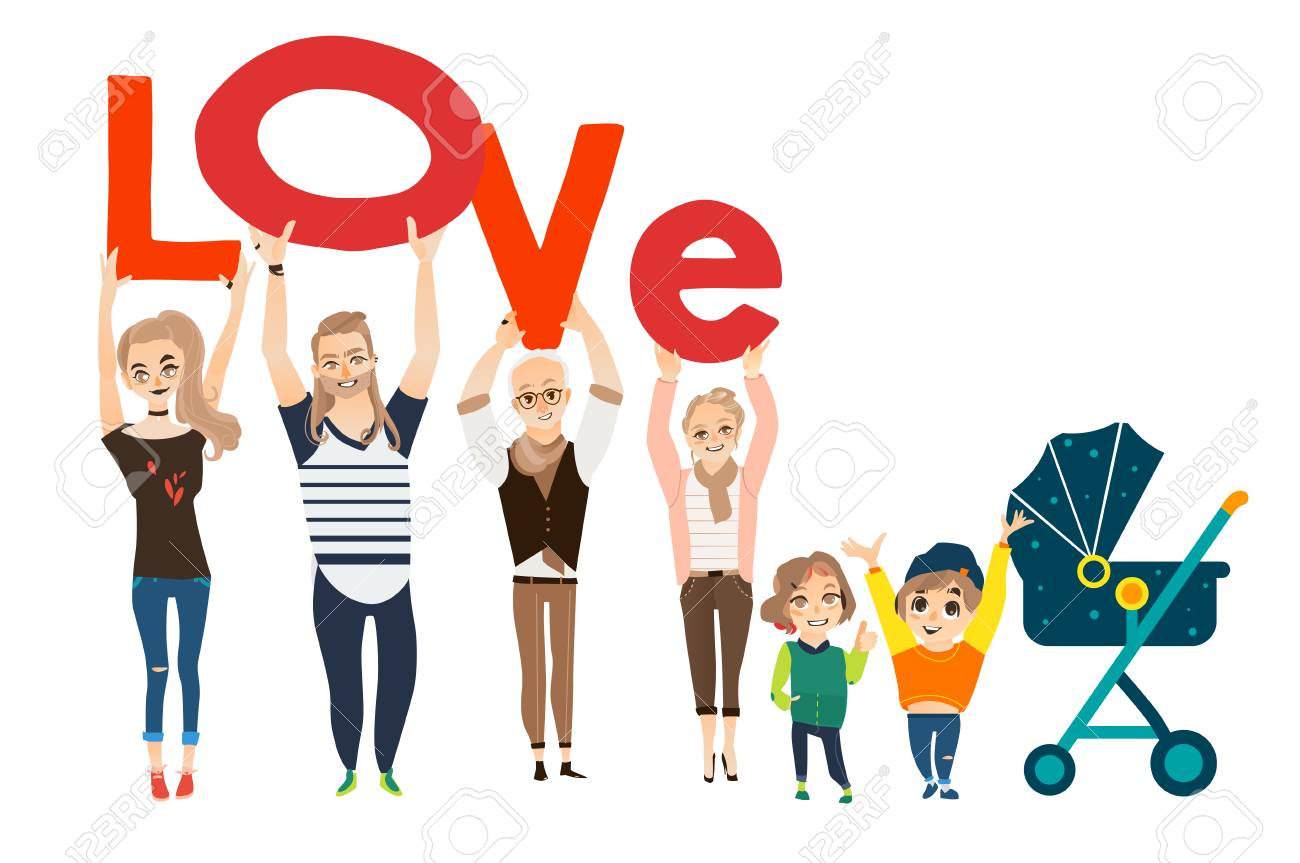 Cartoon Il Ration Of Family Concept With Members Holding The Word Love Stock Vector