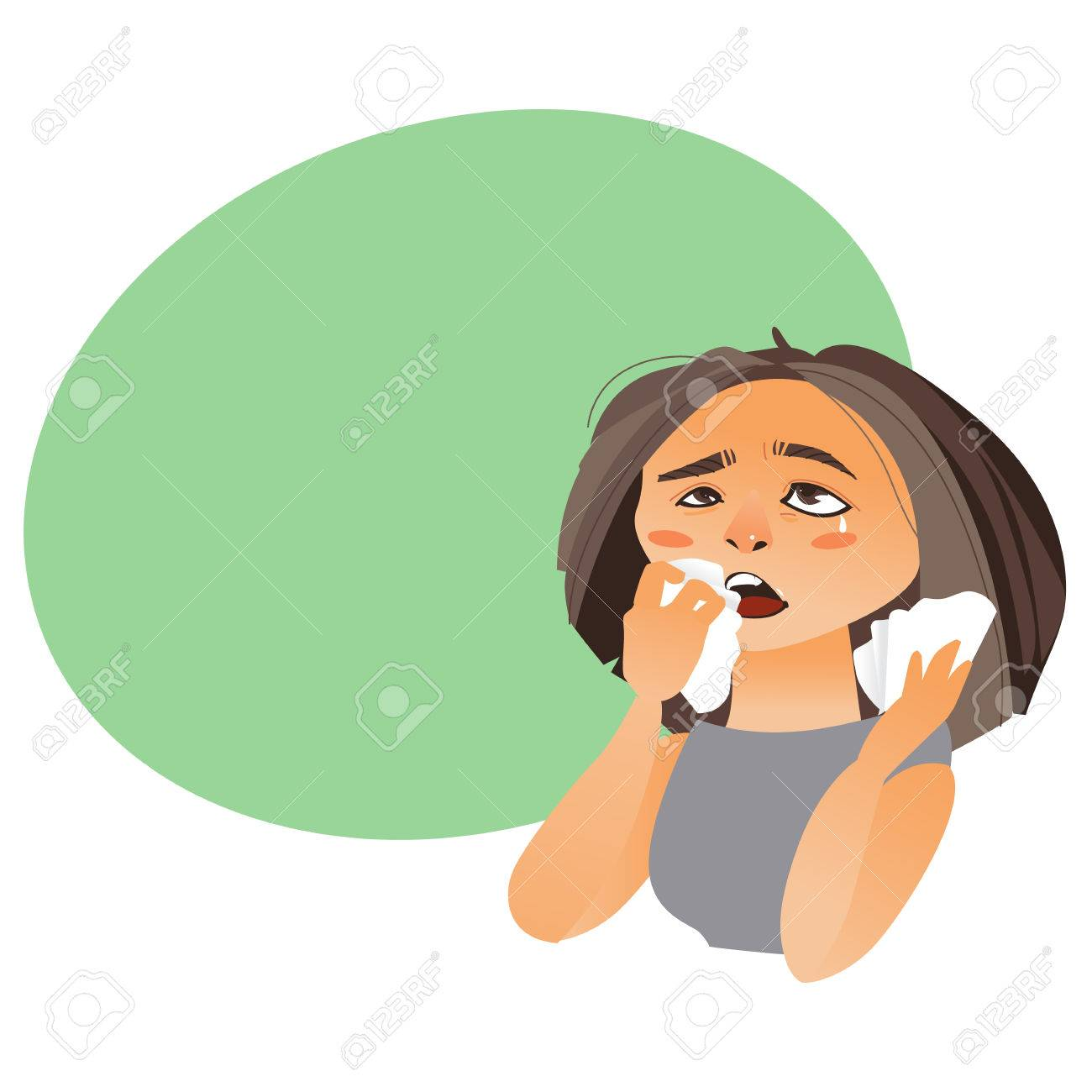 Femme A Rhinitis Essuyer Nez A Papier Tissu Avoir Grippe
