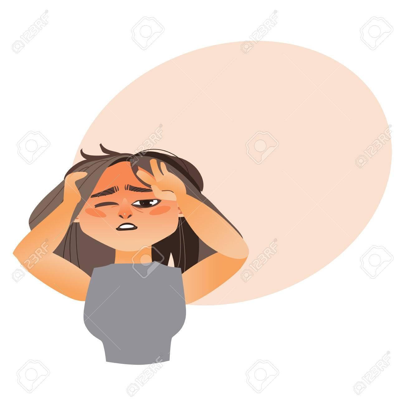 Woman Having Severe Headache Migraine Cartoon Vector Illustration Royalty Free Cliparts Vectors And Stock Illustration Image 84777783