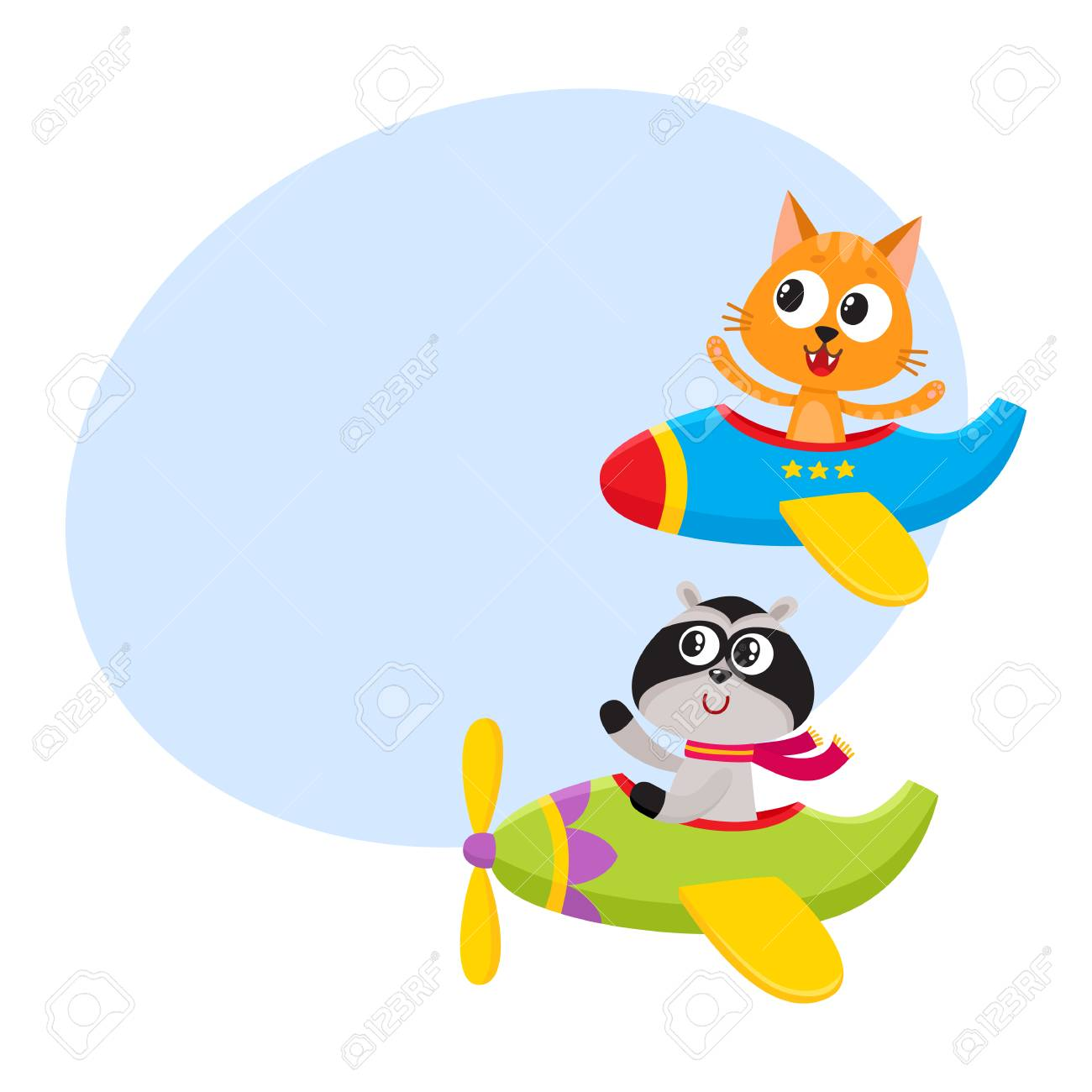Cute Funny Animal Pilot Characters Flying On Airplane Cat And