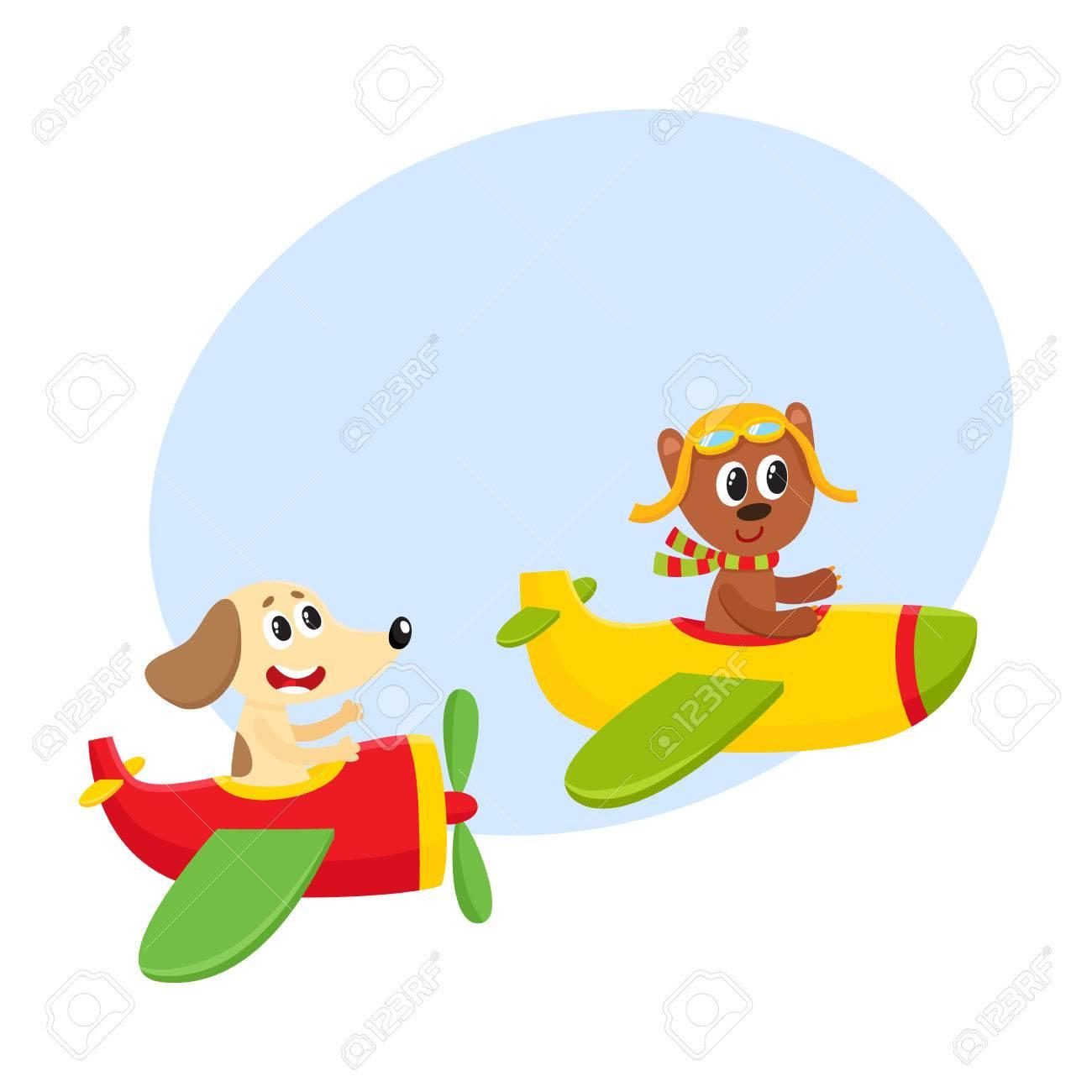 飛行機 - クマと犬、漫画の中で飛んでいるかわいい面白い動物パイロット