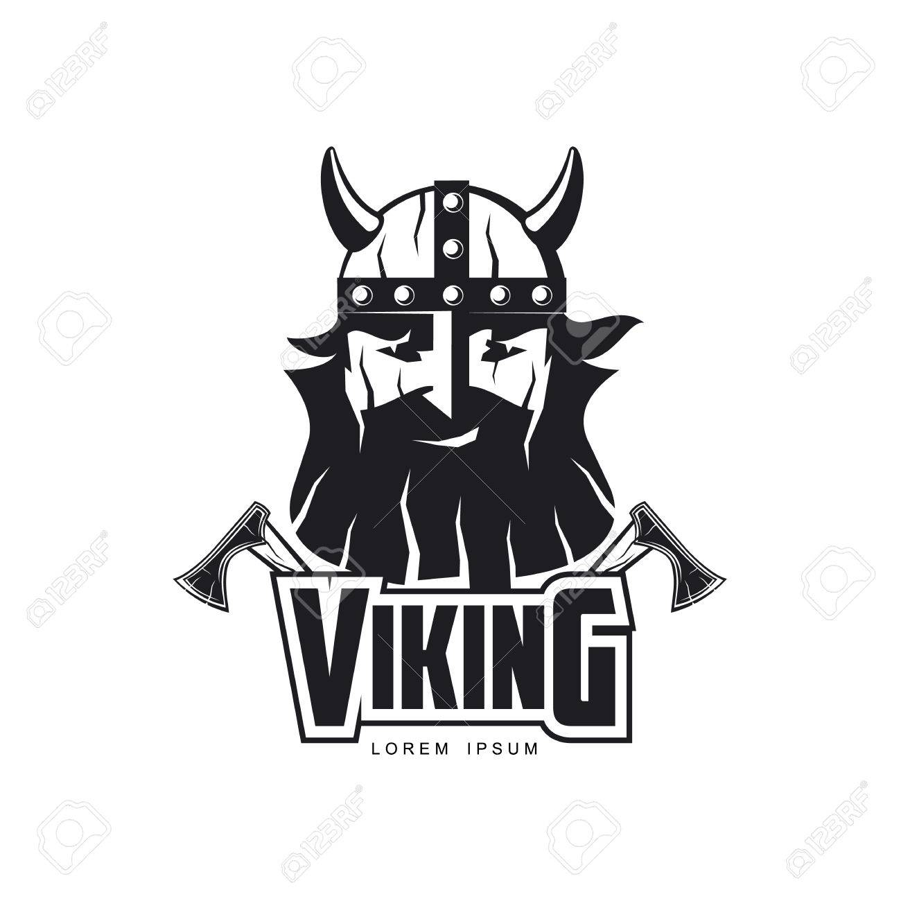 dd994dfc967a6 Vector - vector vikings icon logo template design simple flat isolated  illustration on a white background. Axes and man in helmet with mustache  and beard ...