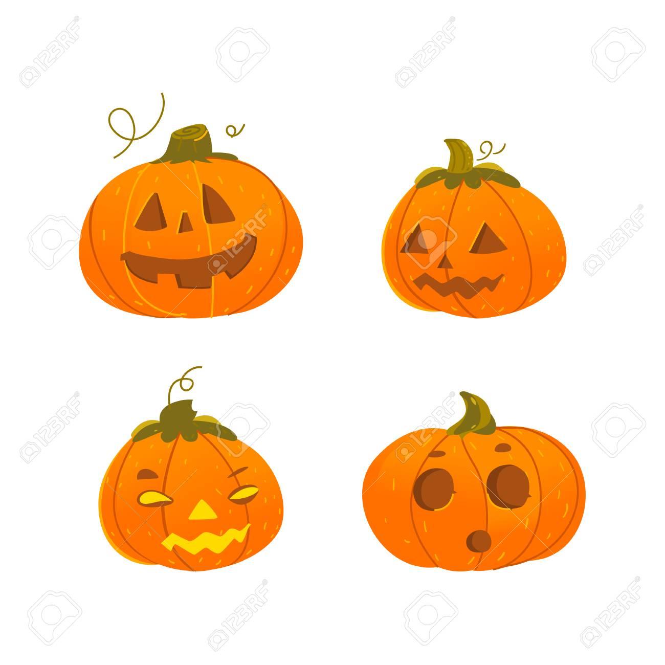 Set Of Cute Funny Halloween Pumpkin Jack O Lanterns Smiling Royalty Free Cliparts Vectors And Stock Illustration Image 84861845