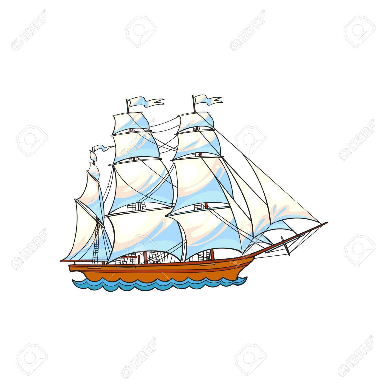 beautiful sailing ship sailboat hand drawn sketch style cartoon
